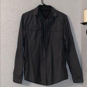 Black And Grey Long Sleeve Collared Shirt